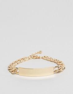 Золотистый браслет-цепочка с планкой ASOS - Золотой