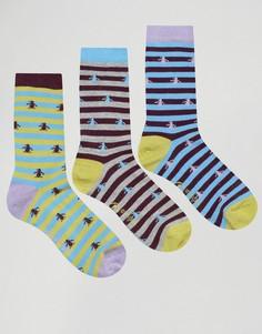 Набор из 3 пар носков в полоску и с принтом Penguin - Фиолетовый