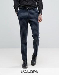 Суперузкие брюки из твида Харрис Heart & Dagger - Темно-синий