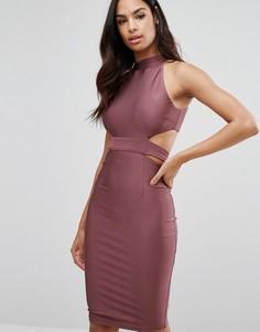 Платье с высокой горловиной и вырезами NaaNaa - Фиолетовый