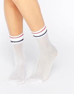 Сетчатые носки с полосками ASOS - Белый
