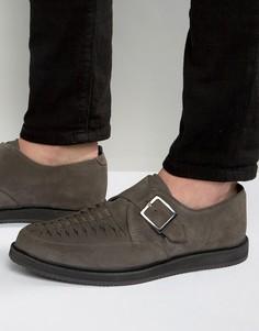 Серые замшевые монки с плетением ASOS - Серый