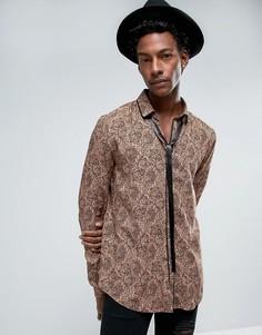 Коричневая вискозная рубашка с принтом пейсли и завязкой ASOS - Коричневый