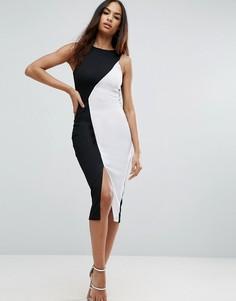 Черно-белое асимметричное облегающее платье миди в рубчик ASOS - Мульти