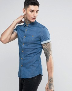 Зауженная джинсовая рубашка с логотипом ASOS - Синий