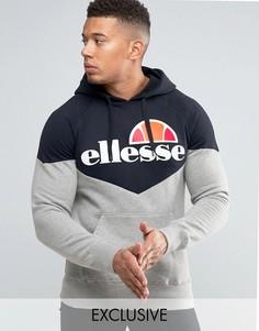 Худи с шевронным узором и крупным логотипом Ellesse - Черный
