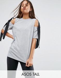 Топ с открытыми плечами и завязками ASOS TALL - Серый