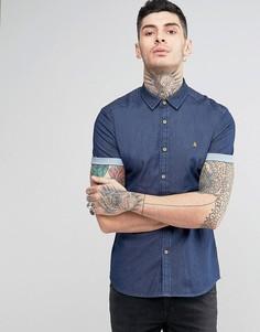 Джинсовая зауженная рубашка с логотипом ASOS - Темно-синий