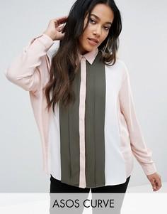 Рубашка колор блок с плиссировкой ASOS CURVE - Мульти