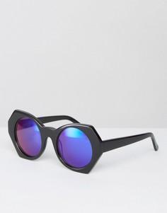 Солнцезащитные очки с синими зеркальными стеклами House of Holland - Черный