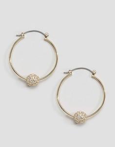 Серьги-кольца с шаром и стразами ASOS - Золотой