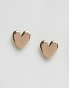 Серьги-гвоздики в форме сердечек ASOS - Золотой