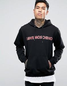 Худи с принтом надписи Love Moschino - Черный