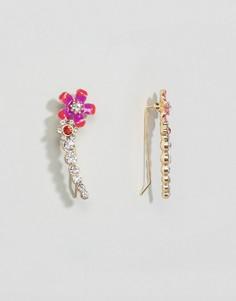 Серьги-клаймберы с эмалированными цветами ASOS - Розовый