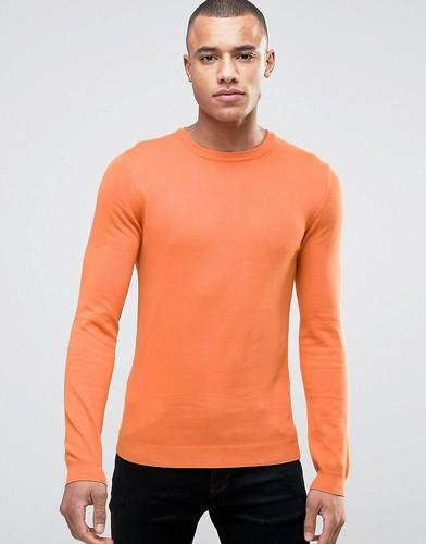 Облегающий хлопковый джемпер с круглым вырезом ASOS - Оранжевый