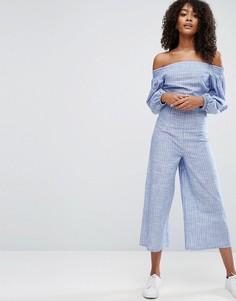 Комбинезон из хлопковой рубашечной ткани в полоску ASOS - Синий