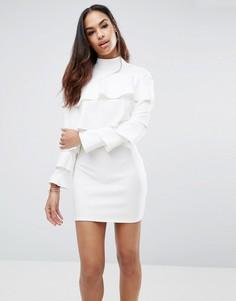 Креповое платье с оборкой Missguided - Белый