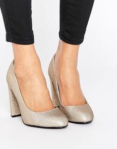Блестящие туфли-лодочки на блочном каблуке New Look - Золотой