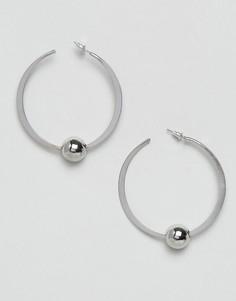 Крупные серьги-кольца 50 мм с шариками ASOS - Серебряный