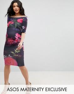 Платье с укороченными рукавами и крупными цветами ASOS Maternity - Мульти