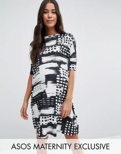 Платье-футболка с абстрактными монохромными полосками ASOS Maternity - Мульти