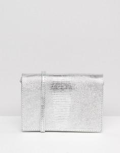 Кожаная сумка металлик через плечо с тиснением под змеиную кожу ASOS - Серебряный