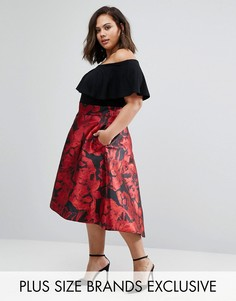 Жаккардовая юбка с принтом роз и асимметричным краем Coast Plus - Красный