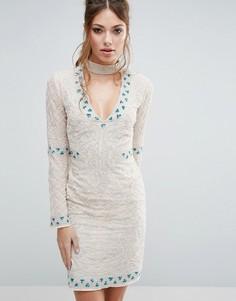 Платье мини с горловиной-чокер и отделкой Frock and Frill - Кремовый
