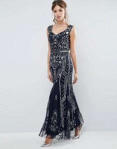 Платье макси с отделкой и глубоким вырезом сзади Frock and Frill - Темно-синий