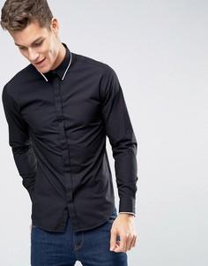 Рубашка слим с длинными рукавами Selected Homme - Черный