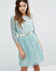 Кружевное платье с длинными рукавами и поясом Little Mistress - Зеленый