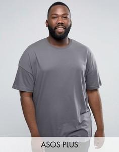 Выбеленная синяя длинная oversize-футболка ASOS PLUS - Синий