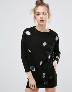 Платье с аппликациями ZIZTAR Little Geometries - Черный