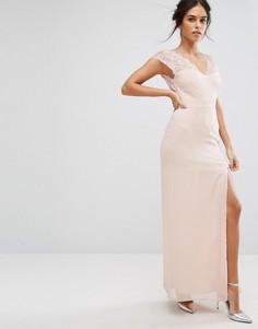 Платье макси с кружевной отделкой и V-образным вырезом Elise Ryan - Розовый