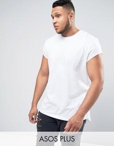 Длинная футболка с короткими цельнокройными рукавами ASOS PLUS - Белый