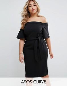 Платье миди с открытыми плечами и поясом ASOS CURVE - Черный