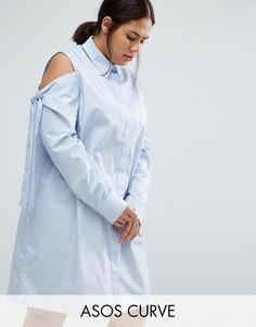 Платье-рубашка с вырезами на плечах и завязками ASOS CURVE - Синий