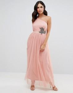 Декорированное платье макси на одно плечо Little Mistress - Розовый