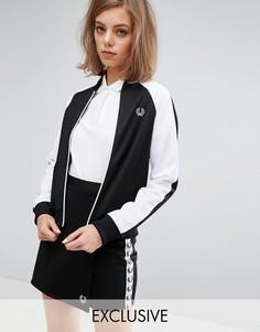 Куртка на молнии с контрастными рукавами Fred Perry Archive Retro - Черный