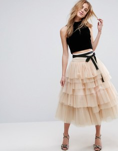 Ярусная тюлевая юбка миди с завязкой на талии ASOS - Розовый