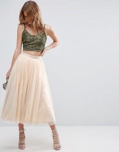 Тюлевая юбка миди с подкладкой цвета металлик ASOS - Золотой