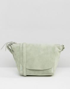 Замшевая сумка через плечо ASOS - Зеленый