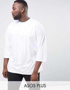 Белая оversize-футболка с рукавами 3/4 ASOS PLUS - Белый