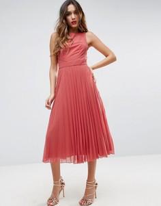 Плиссированное платье миди ASOS - Розовый