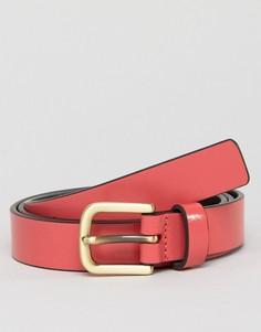 Узкий кожаный ремень розового цвета Smith And Canova - Розовый