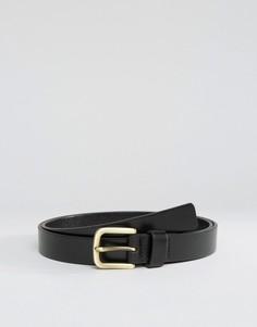 Черный узкий кожаный ремень Smith And Canova - Черный