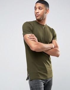 Зеленая облегающая футболка с молниями сбоку ASOS - Зеленый