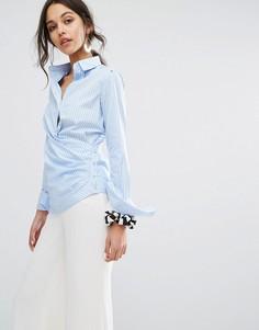 Рубашка в полоску с запахом Sportmax Code - Синий