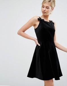 Короткое приталенное бархатное платье с бантами Ted Baker - Черный