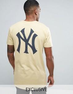 Длинная футболка Majestic New York Yankees эксклюзивно для ASOS - Stone